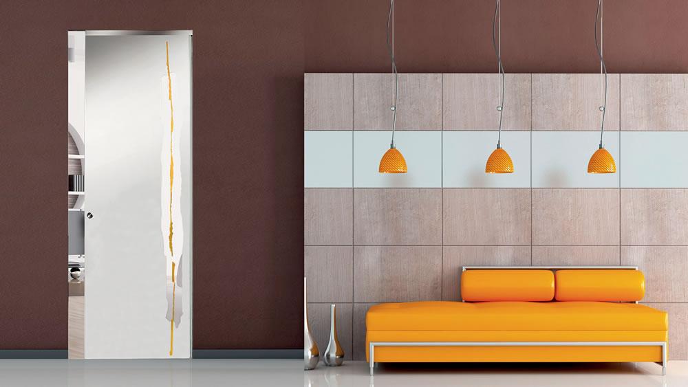 Fondo sabbiato, disegno trasparente-inciso e dipinto Mandarino